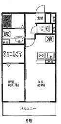 神奈川県横浜市青葉区奈良町の賃貸アパートの間取り