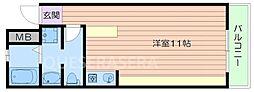 大阪モノレール彩都線 彩都西駅 徒歩20分の賃貸マンション 1階ワンルームの間取り