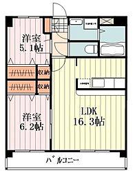 JR五日市線 東秋留駅 徒歩5分の賃貸マンション 3階2LDKの間取り