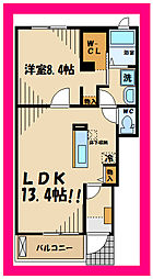 ラソレイユ小柳 1階1LDKの間取り