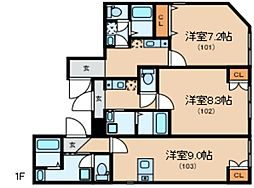 Glanlink Komazawa 1階1Kの間取り