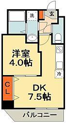 JR総武線 東船橋駅 徒歩9分の賃貸マンション 4階1DKの間取り