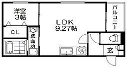 REGALEST 枚方市駅 3階1LDKの間取り