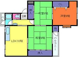 鶴甲コーポ10号館[5階]の間取り