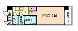 JR東西線 加島駅 徒歩1分の賃貸マンション 9階1Kの間取り