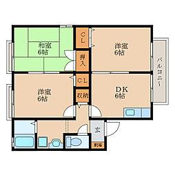 滋賀県近江八幡市西本郷町東の賃貸アパートの間取り