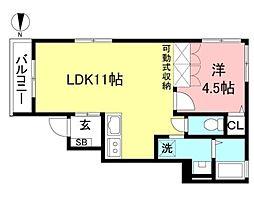 JR中央線 国分寺駅 徒歩18分の賃貸アパート 1階1LDKの間取り