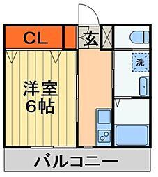 JR総武線 西千葉駅 徒歩12分の賃貸マンション 1階1Kの間取り