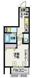 東京メトロ銀座線 外苑前駅 徒歩4分の賃貸マンション 2階1Kの間取り