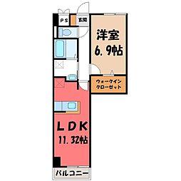 栃木県宇都宮市台新田町の賃貸マンションの間取り