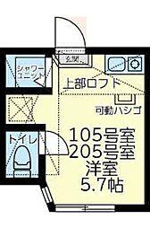 JR南武線 中野島駅 徒歩7分の賃貸アパート 2階ワンルームの間取り