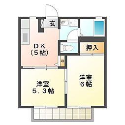 愛知県豊橋市草間町字二本松の賃貸アパートの間取り