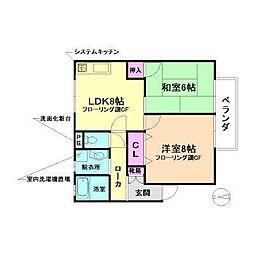 大阪府豊中市浜3丁目の賃貸アパートの間取り