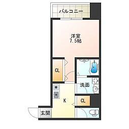 JR東西線 海老江駅 徒歩6分の賃貸マンション 2階1Kの間取り