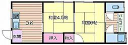JR東海道・山陽本線 吹田駅 徒歩10分の賃貸アパート 2階2DKの間取り
