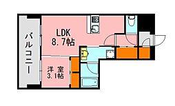 西鉄天神大牟田線 西鉄平尾駅 徒歩13分の賃貸マンション 7階1LDKの間取り
