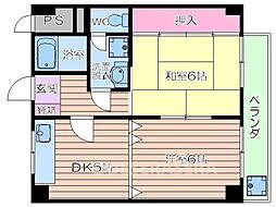 大阪府大阪市浪速区日本橋西2丁目の賃貸マンションの間取り
