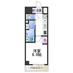 近鉄大阪線 今里駅 徒歩9分の賃貸マンション 7階1Kの間取り