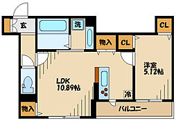 仮)D-room長峰A棟 2階1LDKの間取り