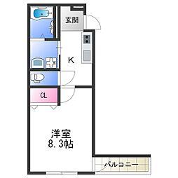 フジパレス中加賀屋III番館 2階1Kの間取り