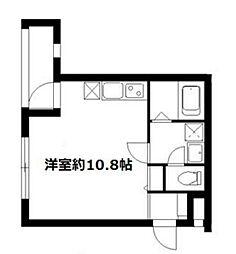 JR山手線 恵比寿駅 徒歩6分の賃貸マンション 2階ワンルームの間取り