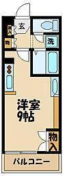 レオネクスト日野万願寺 2階ワンルームの間取り