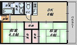 大阪府堺市南区槇塚台3丁の賃貸マンションの間取り