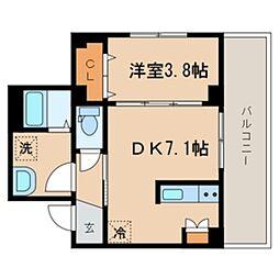 シーズ・ガレリア目黒 3階1DKの間取り