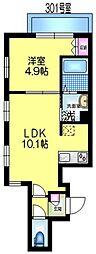 JR総武線 亀戸駅 徒歩4分の賃貸マンション 3階1LDKの間取り