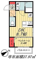 JR総武線 本八幡駅 徒歩10分の賃貸マンション 2階1DKの間取り