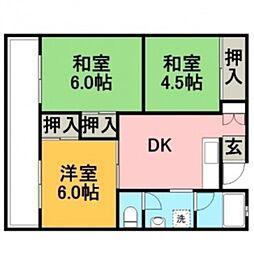 三苫ハイツ1号館[306号室]の間取り