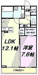 JR中央線 国立駅 徒歩15分の賃貸アパート 1階1LDKの間取り
