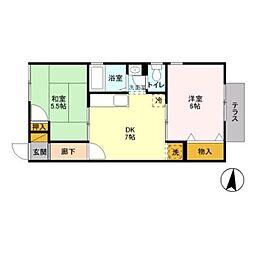 神奈川県川崎市多摩区宿河原3丁目の賃貸アパートの間取り