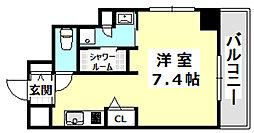 阪急京都本線 南茨木駅 徒歩1分の賃貸マンション 6階ワンルームの間取り