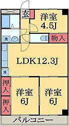 JR総武本線 四街道駅 徒歩12分の賃貸マンション 2階3LDKの間取り