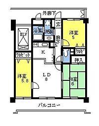 埼玉県さいたま市見沼区大字蓮沼の賃貸マンションの間取り