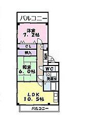 大阪府羽曳野市南恵我之荘5の賃貸アパートの間取り