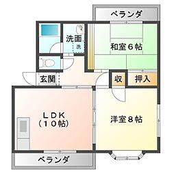 愛知県豊橋市岩屋町字岩屋下の賃貸アパートの間取り