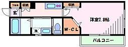 東急東横線 新丸子駅 徒歩5分の賃貸マンション 2階1Kの間取り