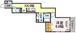 JR横浜線 中山駅 徒歩9分の賃貸アパート 3階1Kの間取り