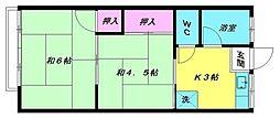 豊荘[201号室]の間取り