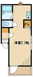 小田急小田原線 読売ランド前駅 徒歩6分の賃貸アパート 2階ワンルームの間取り
