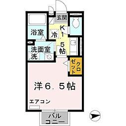 フローラ岡本B棟 2階1Kの間取り