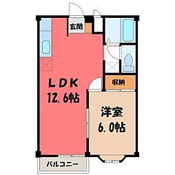 栃木県下野市駅東5丁目の賃貸アパートの間取り