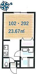 Ambition聖蹟桜ケ丘2 1階1Kの間取り