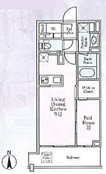 GRAND LIVIO芝大門 グランリビオ芝大門 8階1LDKの間取り