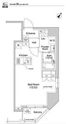 JR総武本線 馬喰町駅 徒歩3分の賃貸マンション 6階ワンルームの間取り