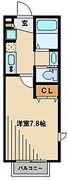 西武池袋線 武蔵藤沢駅 徒歩2分の賃貸アパート 2階1Kの間取り