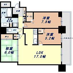 Osaka Metro四つ橋線 四ツ橋駅 徒歩6分の賃貸マンション 45階3LDKの間取り