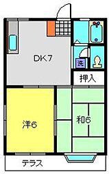 神奈川県横浜市南区中里4丁目の賃貸アパートの間取り